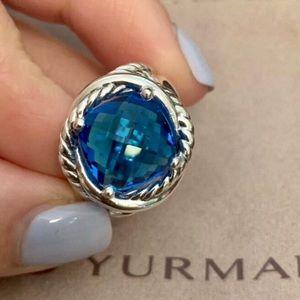 David Yurman Blue Topaz Infiniti Ring, Size 7